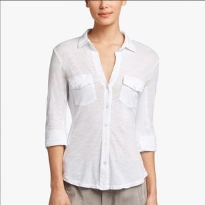 James Perse Contrast Ribbed Button Down